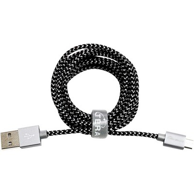 Tera Grand USB 2.0 A to Micro B Braided Cable 6 ft. Black and White
