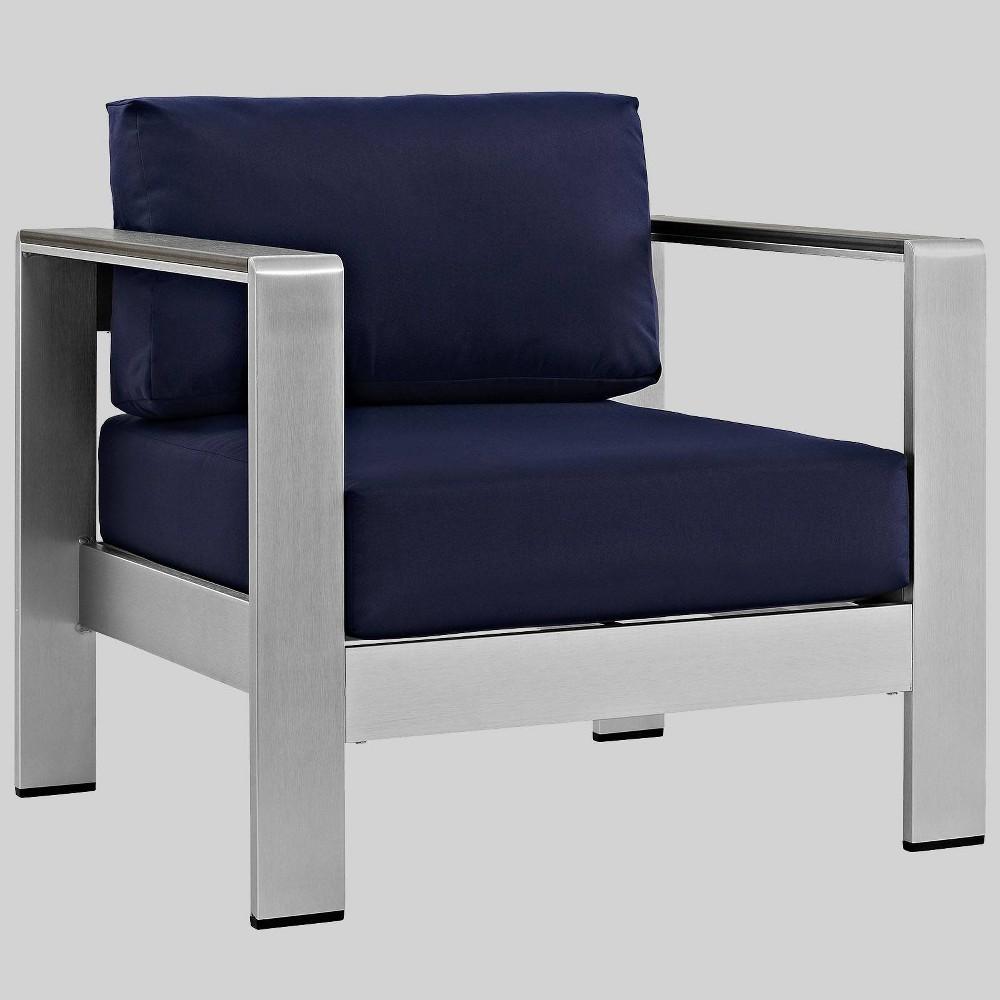 Shore 1pc Outdoor Patio Aluminum Armchair - Navy (Blue) - Modway