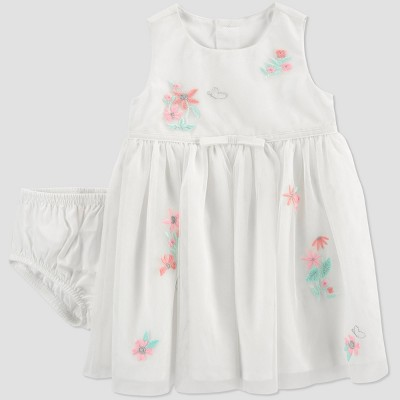 Baby Girls' Easter Dressy Tulle Dress with Flowers - Just One You® made by carter's White