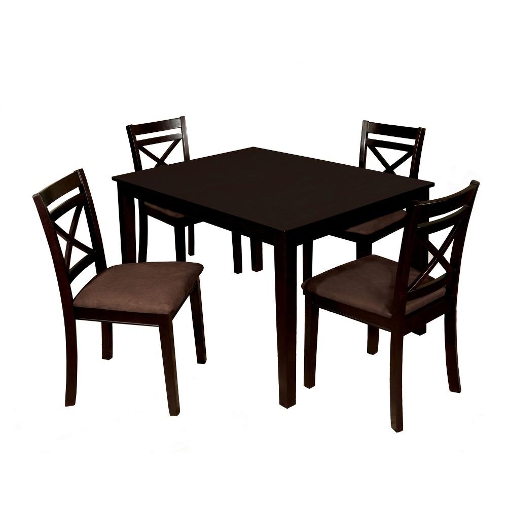 Image of 5pc Winston Window Back Microfiber Seat Dining Table Set Espresso - ioHOMES