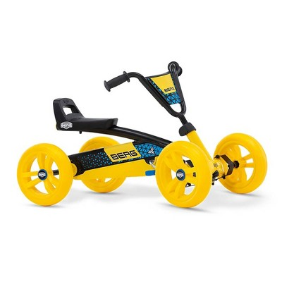 BERG Buzzy BSX Kids Pedal Go Kart Ride On Toy with Axle Steering for Ages 2-5, Yellow & Black