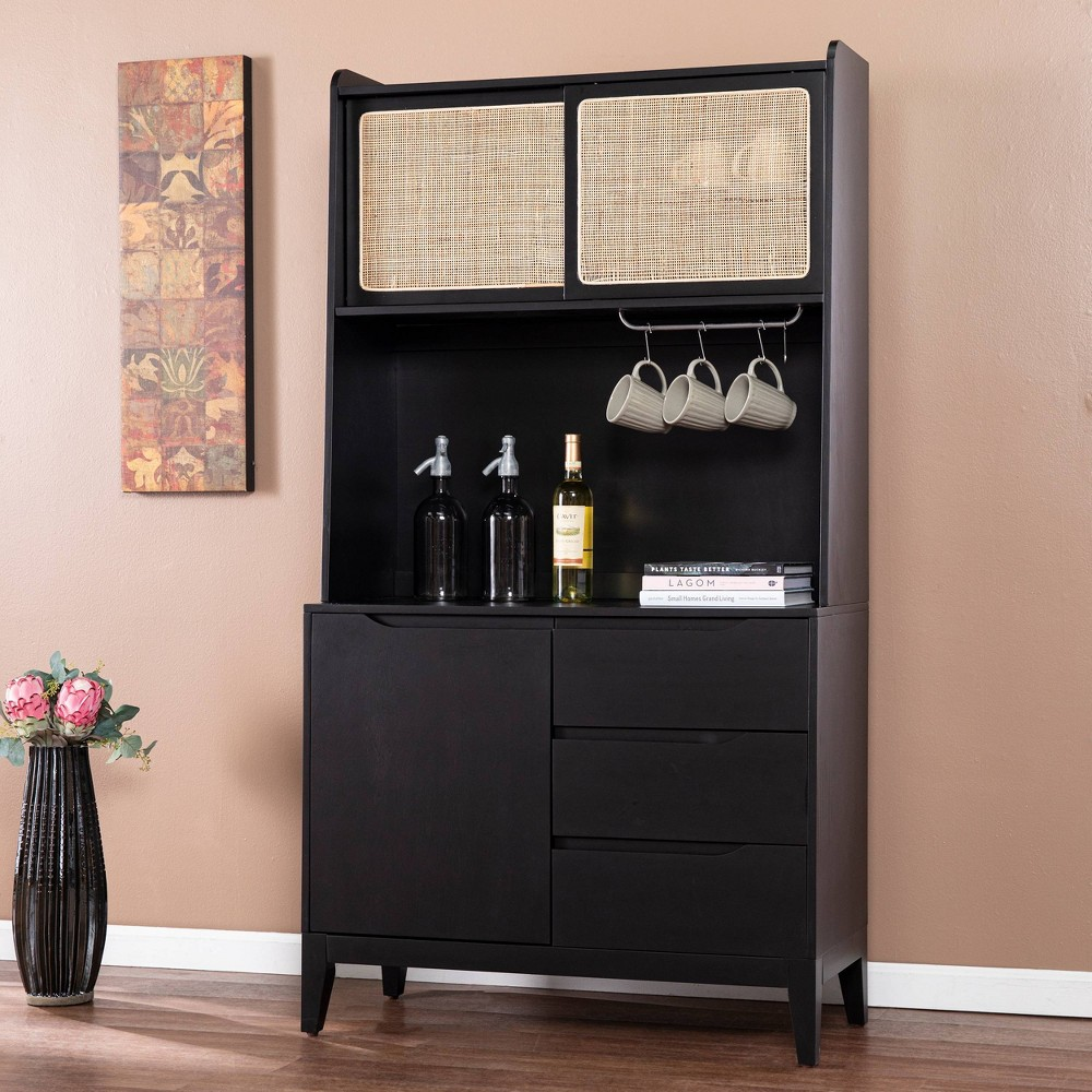 Groveholme Tall Buffet Cabinet With Storage Black Natural Aiden Lane