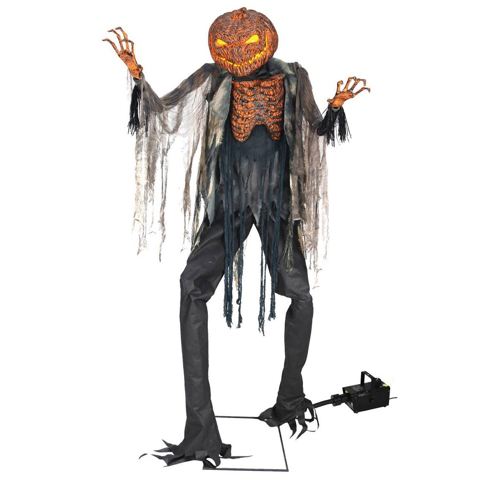 Image of 7.1ft Halloween Scorched Scarecrow With Fog Machine