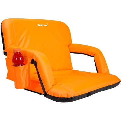 Driftsun Extra Wide Padded Folding Portable 6 Position Reclining Cushioned Stadium Seat Chair with Side Cup Holder and Backpack Carry Straps, Orange