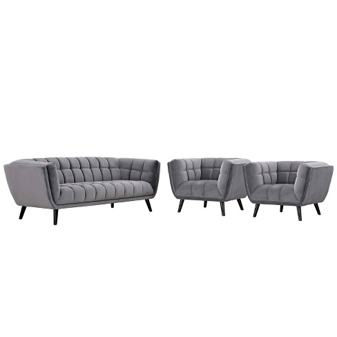Amazing 3Pc Bestow Velvet Sofa And Armchair Set Gray Modway Onthecornerstone Fun Painted Chair Ideas Images Onthecornerstoneorg
