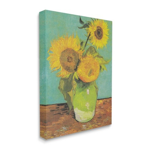 Stupell Industries Traditional Sunflower Painting Over Turquoise Van Gogh Target