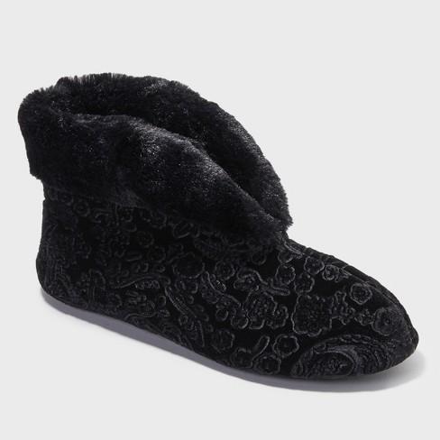 Women's Dearfoams Bootie Slippers - Black - image 1 of 4