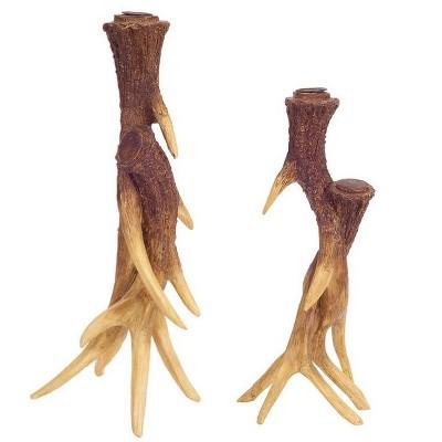 "Melrose Set of 2 Country Rustic Deer Antler Christmas Taper Candle Holders 15.5"""