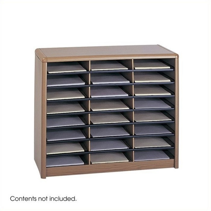 Steel Value Sorter 24 Compartment WoodFlat Files Organizer in Medium Oak Brown-Safco - image 1 of 3