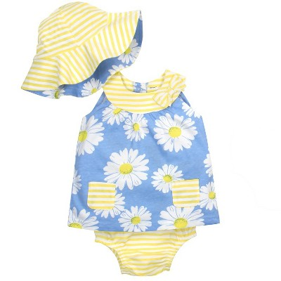 Gerber® Baby Girls' 3pc Daisies Dress, Panty and Reversible Hat - Blue/Yellow 0-3M