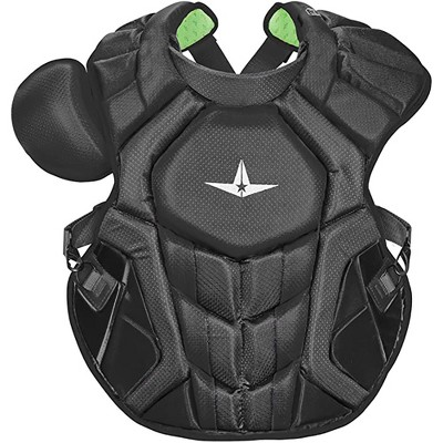All-Star Sports S7 SEI Certified 16.5 Inch Axis Adult Baseball Softball Catcher Chest Protector with Shoulder and Throat Molded PE Plates, Black