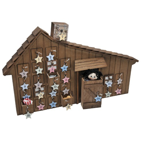 The Queen's Treasures Little House on the Prairie® Wood Holiday Advent Calendar with Star Ornaments - image 1 of 5