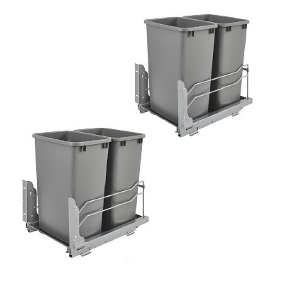Rev A Shelf Double 35 Quart Kitchen Pullout Waste Container Trash Can (2 Pack)