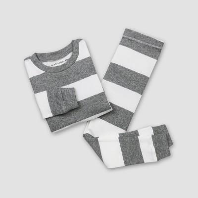 Burt's Bees Baby Rugby Stripe Pajama Set - Heather Gray 12M