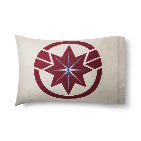 Marvel Captain Marvel Standard Pillowcase Red - image 1 of 2