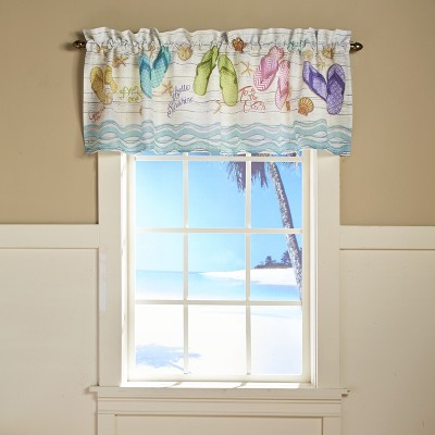 Lakeside Flip Flop Beach Theme Bathroom and Kitchen Window Valance with Rod Pocket