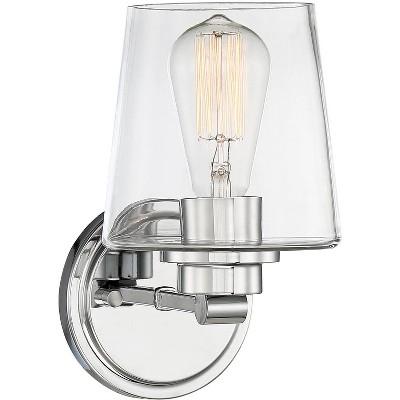 "Possini Euro Design Possini Euro Brandeis 9 1/4"" High Chrome and Clear Glass Wall Sconce"