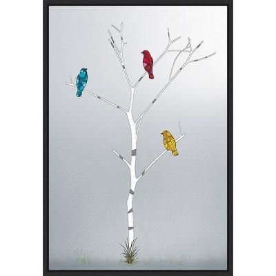 "16"" x 23"" Three In A Tree by Marvin Pelkey Framed Canvas Wall Art - Amanti Art"