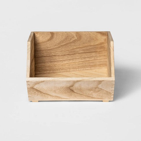 Stackable Wood Storage Bin Natural - Pillowfort™ - image 1 of 4
