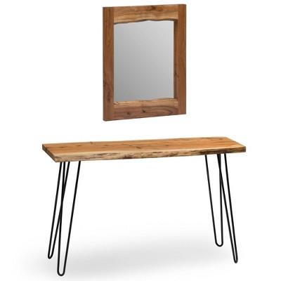 """24"""" Hairpin Live Edge Console Table and Mirror Set Natural - Alaterre Furniture"""