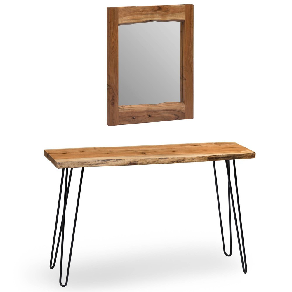 "Image of ""24"""" Hairpin Live Edge Console Table and Mirror Set Natural - Alaterre Furniture, White"""