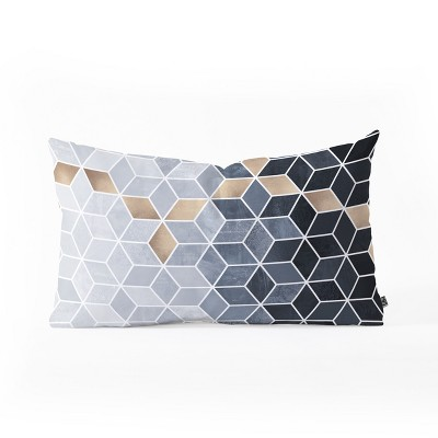 Elisabeth Fredriksson Soft Blue Gradient Cubes Lumbar Throw Pillow Black/Gold - Deny Designs