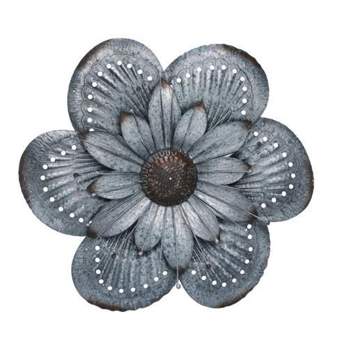 Transpac Metal 20 In Silver Spring Rustic Dimensional Flower Wall Decor Target