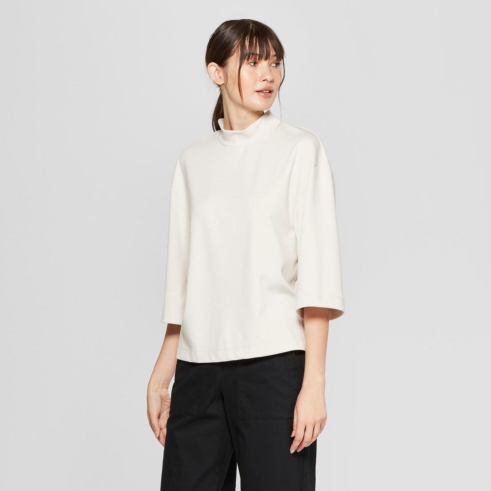 Women's 3/4 Flare Sleeve Mock Neck T-Shirt - Prologue Cream (Ivory) XS