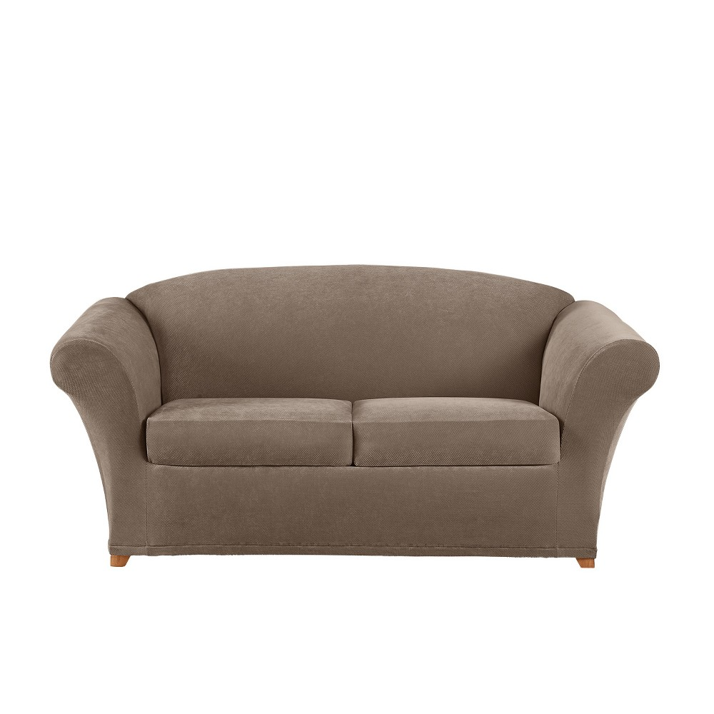 Image of 3pc Stretch Pique Loveseat Slipcover Taupe - Sure Fit