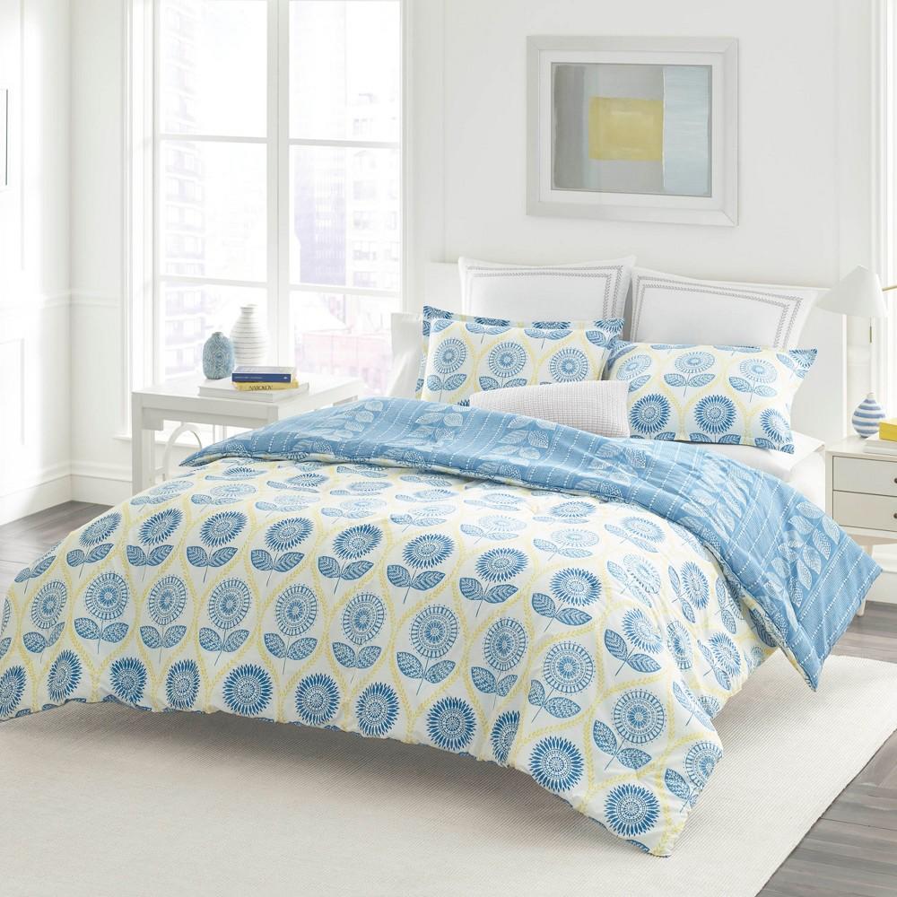 Laura Ashley Full/Queen Sunflower Duvet Cover Set Blue