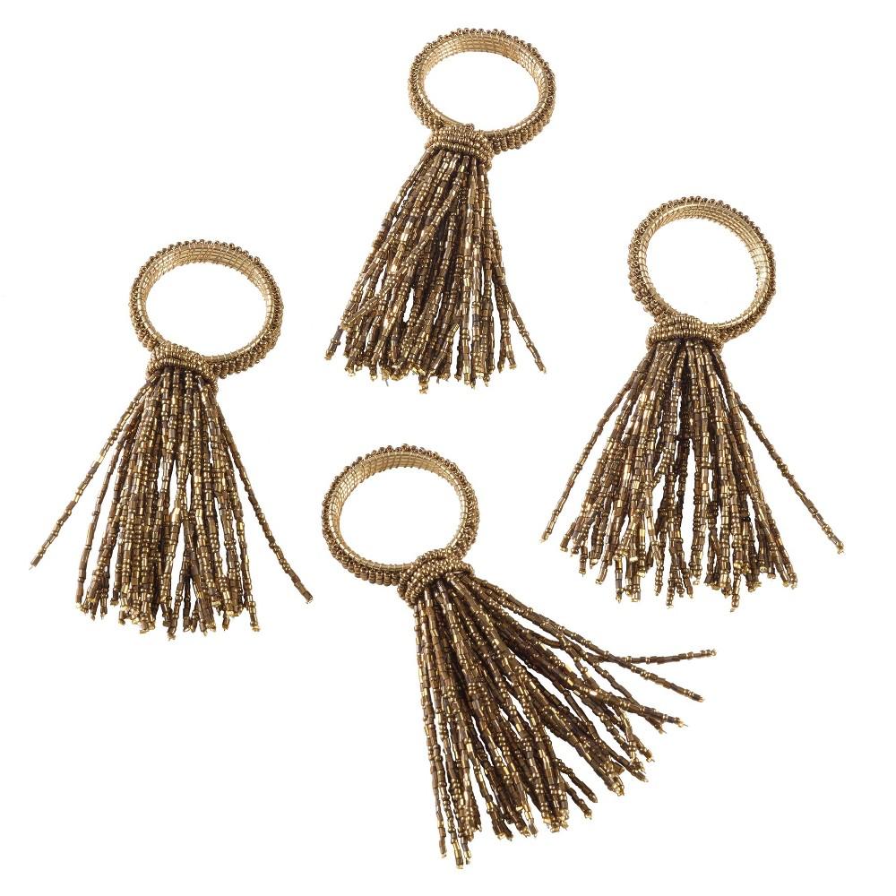 Image of Gold Beaded Spray Design Wedding Special Napkin Ring Set of 4 -Saro Lifestyle
