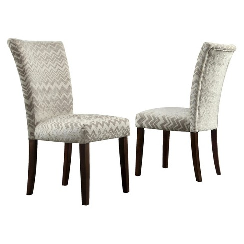 Quinby Parson Dining Chair Wood/Velvety Chevron (Set of 2) - Inspire Q - image 1 of 5