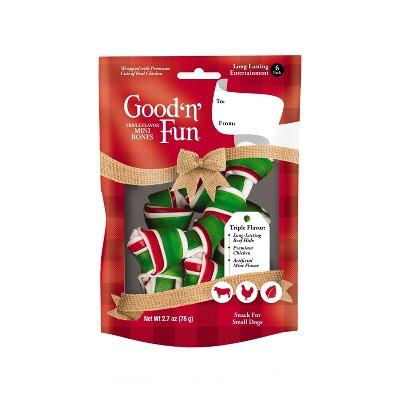 Good 'n' Fun Triple Flavor Mini Bones Dental Dog Treats - 6ct