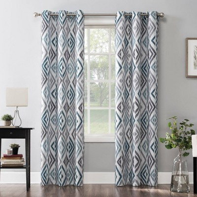 Hana Ikat Geometric Semi-Sheer Grommet Curtain Panel Teal - No.918