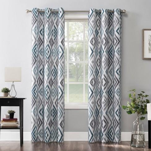 Hana Ikat Geometric Semi-Sheer Grommet Curtain Panel Teal - No.918 - image 1 of 4