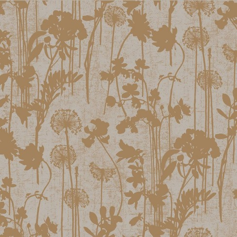 Tempaper Distressed Floral Self Adhesive Removable Wallpaper Gray Copper Target