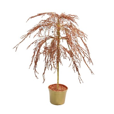 CMI 3.8' Unlit Artificial Christmas Tree Copper Holiday Crystallized Potted Glitter