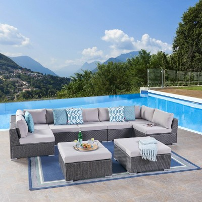 Santa Rosa 9pc Wicker Sectional Seating Set - Christopher Knight Home