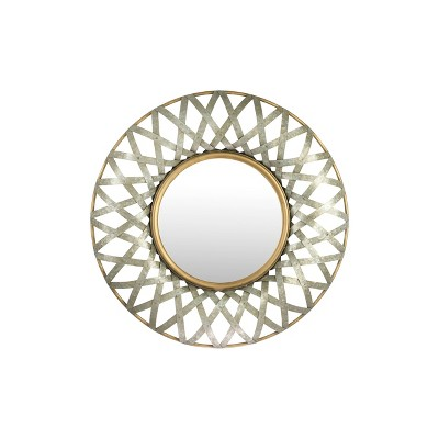 Round Metal Wall Mirror with Gold and Galvanized Finish - 3R Studios