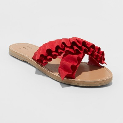 Women's Cimberly Ruffle Crossband Slide Sandals - A New Day™ Red 10