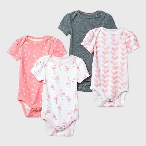 Baby Girls' 4pk Flamingo Parade Short Sleeve Bodysuit - Cloud Island™ Pink/White/Gray - image 1 of 1