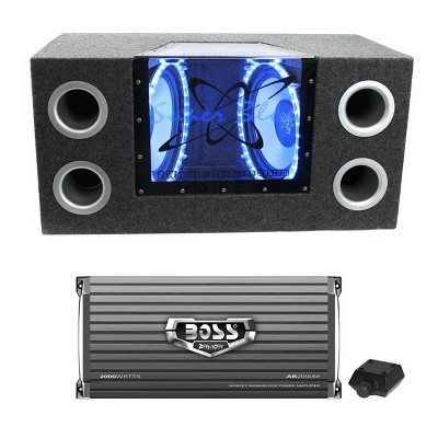 """Pyramid BNPS102 10"""" 1000W Car Subwoofers Sub Bandpass System with Neon Accent Lighting and Boss PDX-1000.2 2000W 2-Ohm 2-Channel Amplifier Amp"""
