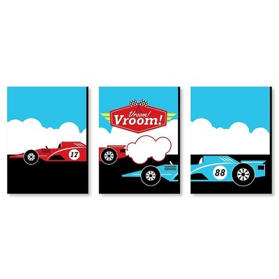 Big Dot of Happiness Let's Go Racing - Racecar - Nursery Wall Art, Race Car Kids Room Decor & Game Room Home Decor - 7.5 x 10 inches - Set of 3 Prints