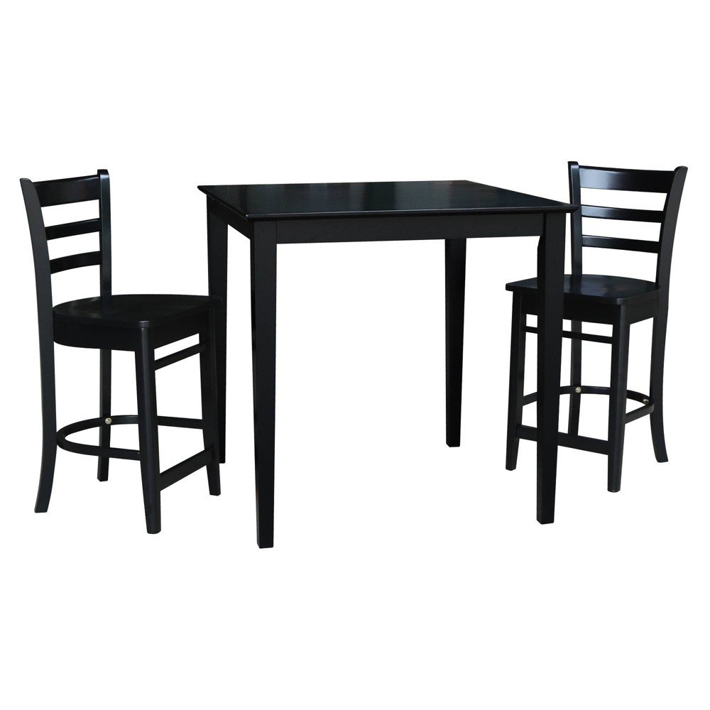 36 34 X36 34 Counter Height Dining Set With 2 Emily Stools Black International Concepts