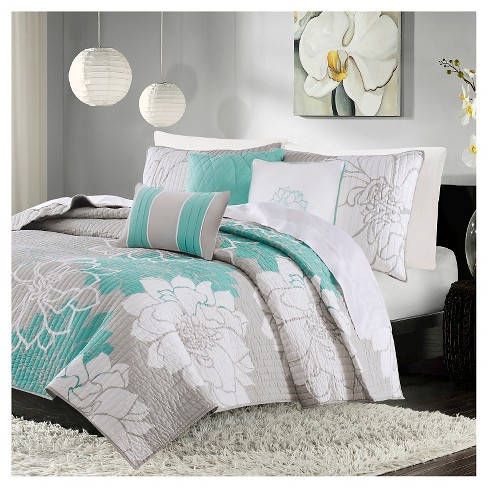 Jane Floral Quilted Coverlet Set Aqua - 6pc - image 1 of 5