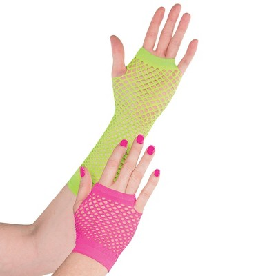 Adult Neon Fishnet Glove Accessory Halloween Costume