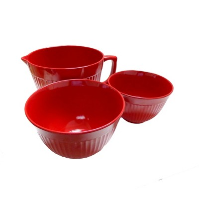 Natural Home 3pk Molded Bamboo Mixing Bowls Red