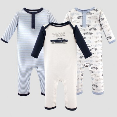 Hudson Baby Boys' 3pk Union Suits, Antique Cars - Blue 3-6M