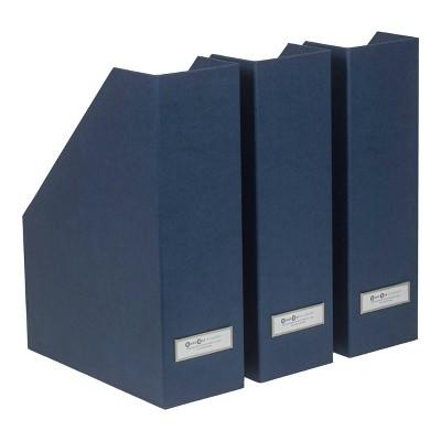Set of 3 Viktoria Magazine File Navy - Bigso Box of Sweden