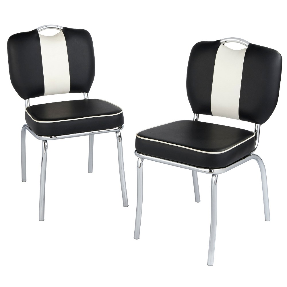 Set of 2 Raleigh Retro Dining Chairs White/Black - Buylateral, Black/White